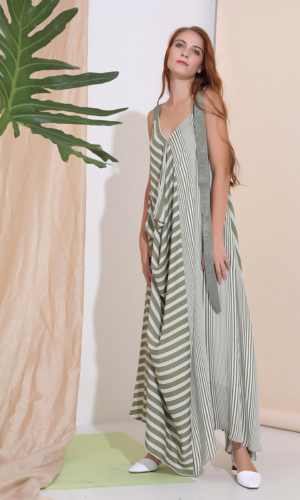 Buy Dress Maxi stripe print mix resort