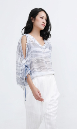 Blouse Linear Print Open Shoulders Loose