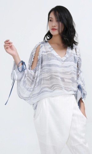 Buy Blouse Linear Print Open Shoulders Loose