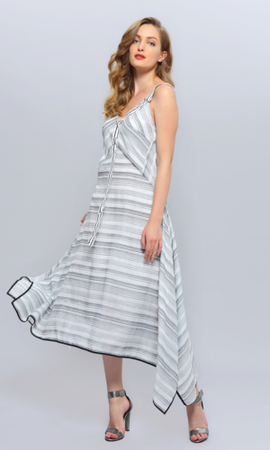 Diagonale Stripes Strappy Midi Dress