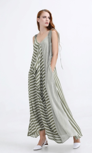 Dress Maxi stripe print mix resort