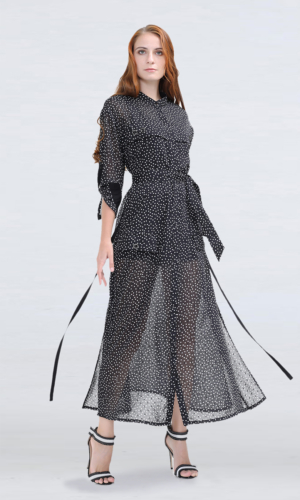 Long Polka Dots Chiffon Shirt Dress