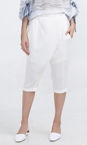 Pants Satin Trim Capri Tailored