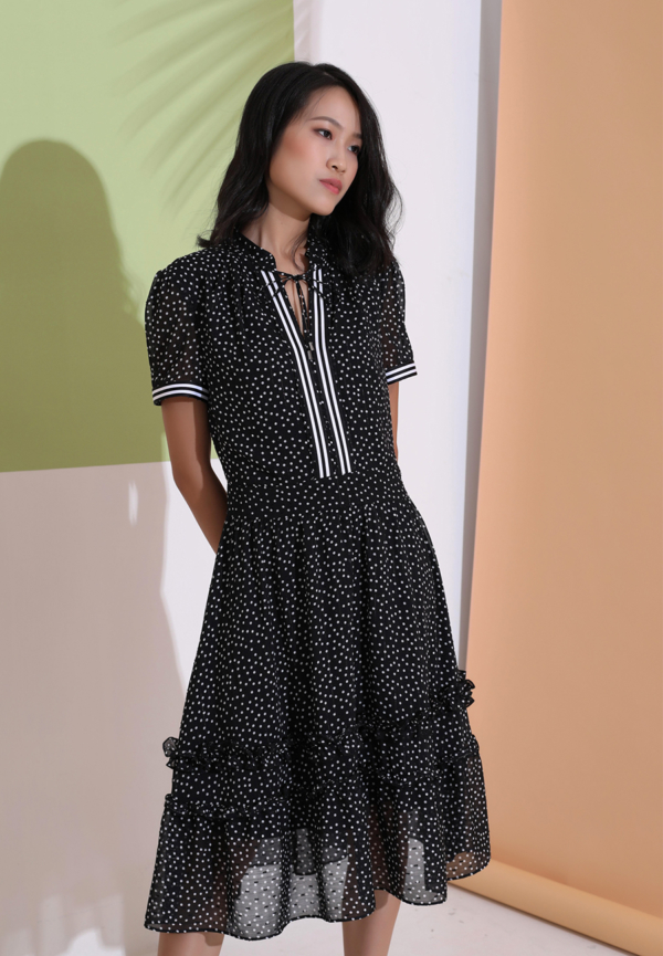 Buy Polka Dots Fit and Flare Chiffon Dress