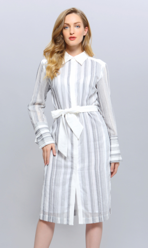 Bi-Material Striped Shirt Dress