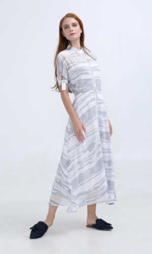 Dress Linear Elemental Print Midi Shirt
