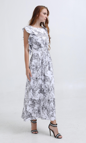 Dress Ruffle Flower Print Maxi