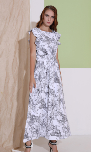 Buy Dress Ruffle Flower Print Maxi