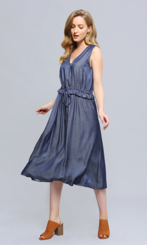 Buy Dress V neckline Adjustable Waist Midi