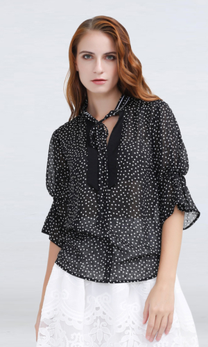 Buy Polka Dots Tulip Sleeves Chiffon Blouse